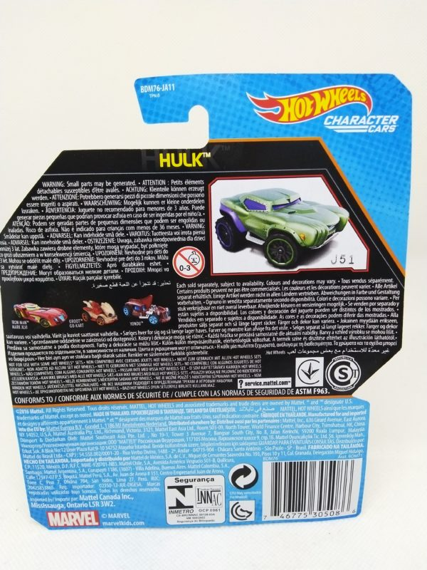 Voiture Hot Wheels - Personnage Marvel - Hulk