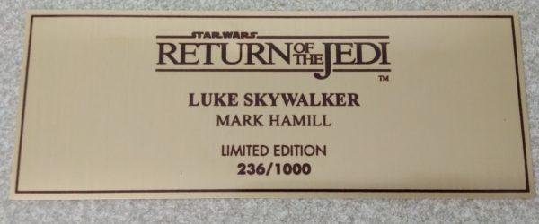 Plaque dédicacé Mark HAMILL - Luke Skywalker - Limited édition - le retour du Jedi