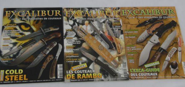 3 Magazines Excalibur - N°49/50 et 51 - juin 2008 à février 2009
