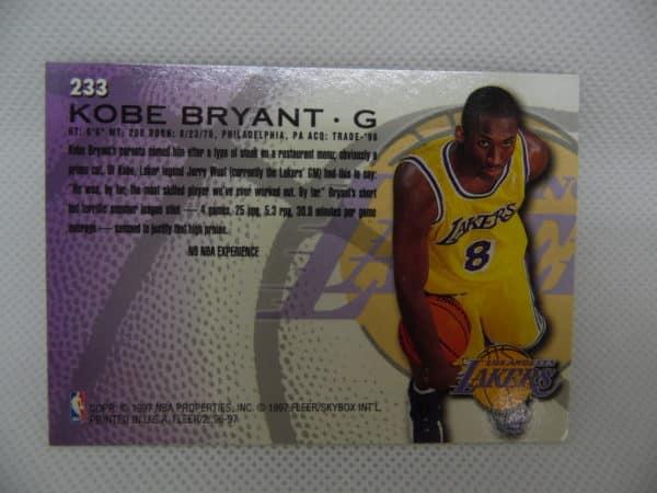 Carte Kobe Bryant - FLEER - 96/97 - Version Européen - N°233 -Rookie