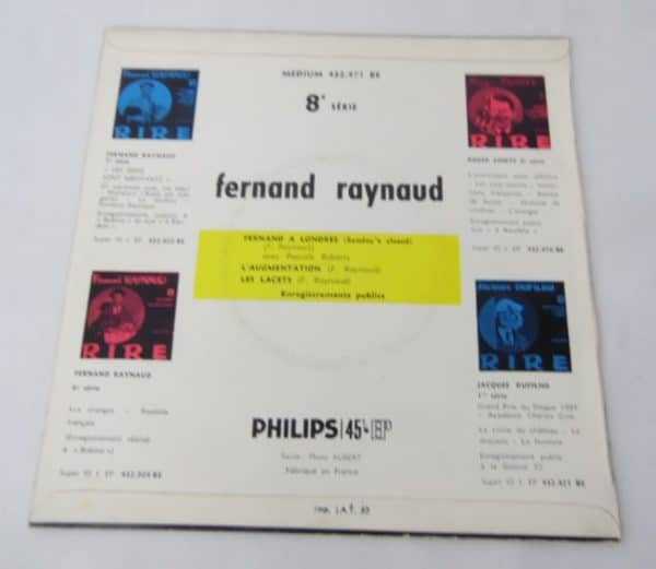 Disque vinyle - 45 T - Fernand Raynaud - Rire 8