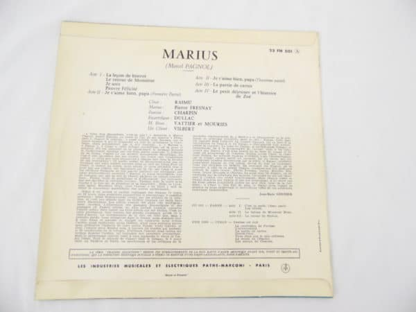 Disque vinyle - 33 T de 25 cm - Microsillon - Fany de Marcel Pagnol - Série collection