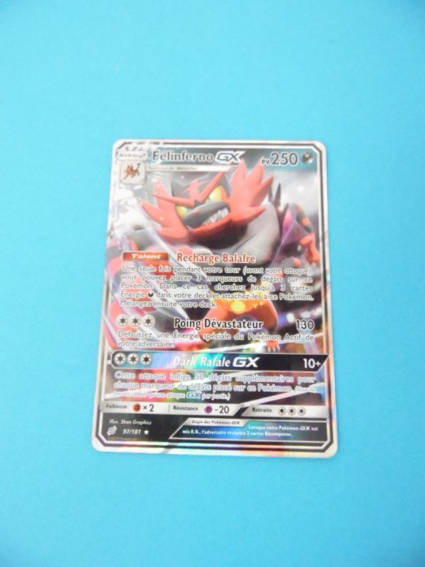 Carte Pokémon FR - Félinferno GX 250PV - 97/181 Full art - Duo de Choc